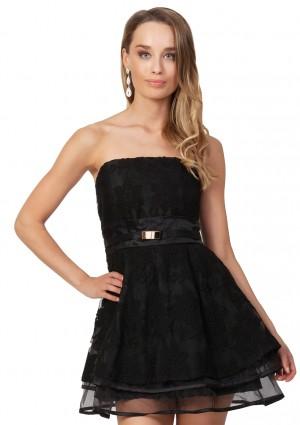 Schwarzes Abendkleid aus Chiffon und Tüll -