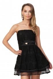 Schwarzes Abendkleid aus Chiffon und Tüll