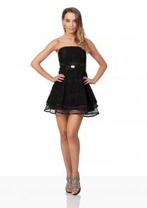 Schwarzes Abendkleid aus Chiffon und Tüll - online bestellen bei vipdress.de