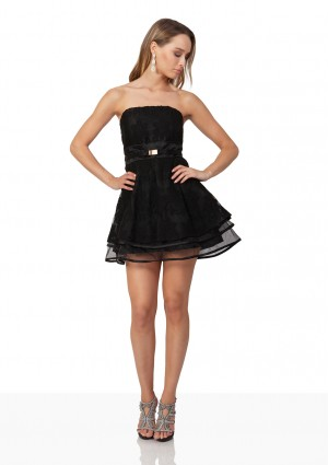 Schwarzes Abendkleid aus Chiffon und Tüll - günstig bestellen bei VIP Dress