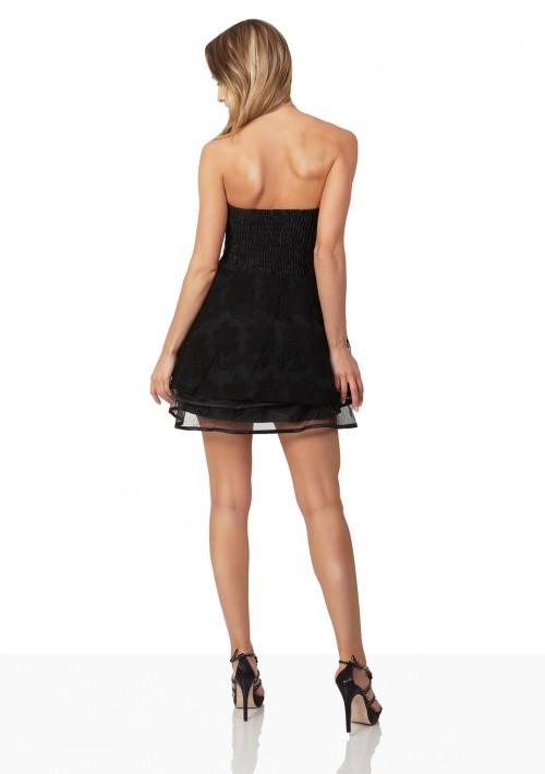 Schwarzes Abendkleid aus Chiffon und Tüll - hier günstig online bestellen