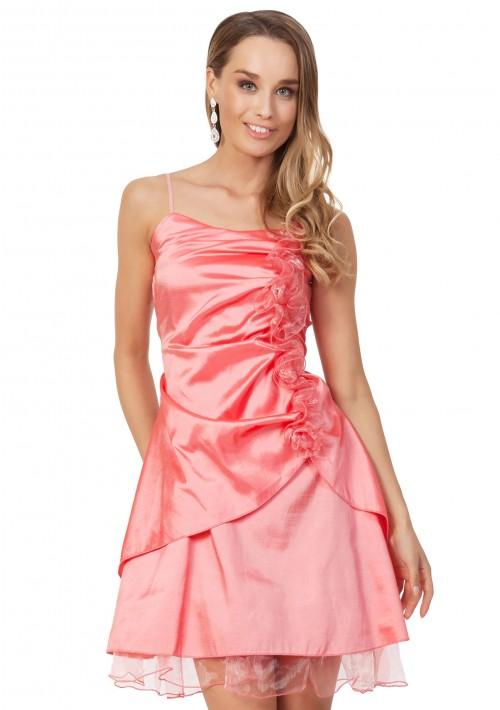 Rüschen-Cocktailkleid in Rosa mit Blumenverzierung - günstig bestellen bei VIP Dress