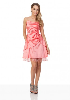 Rüschen-Cocktailkleid in Rosa mit Blumenverzierung - bei VIP Dress günstig kaufen