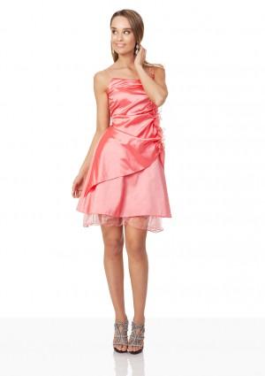 Rüschen-Cocktailkleid in Rosa mit Blumenverzierung - bei VIP Dress online bestellen