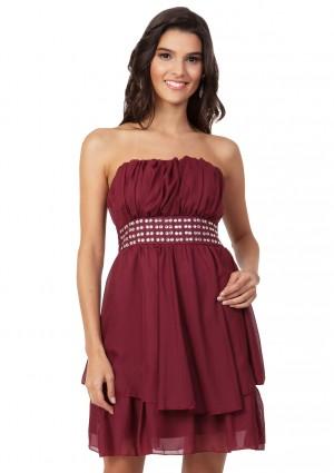 Rotes Cocktailkleid aus edlem Chiffon - bei VIP Dress online bestellen