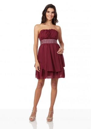 Rotes Cocktailkleid aus edlem Chiffon - bei VIP Dress günstig kaufen