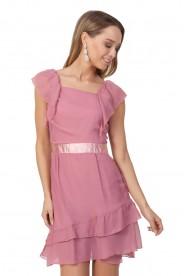 Chiffonkleid im Vintage Style in Rosa