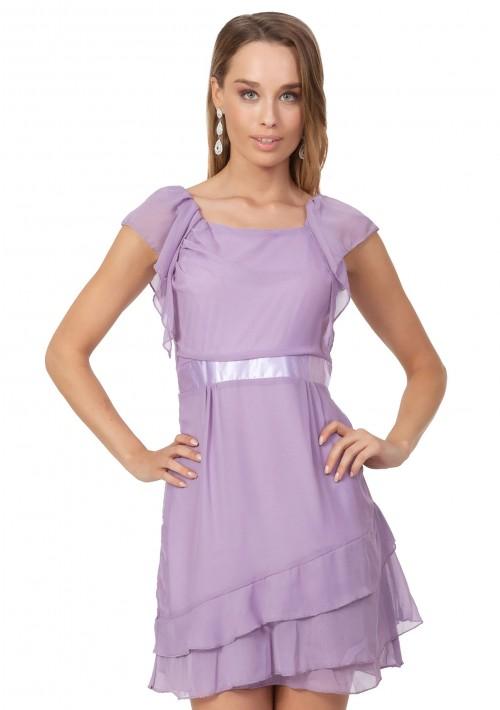 Vintage Abendkleid aus Chiffon in zartem Lila - bei VIP Dress günstig kaufen