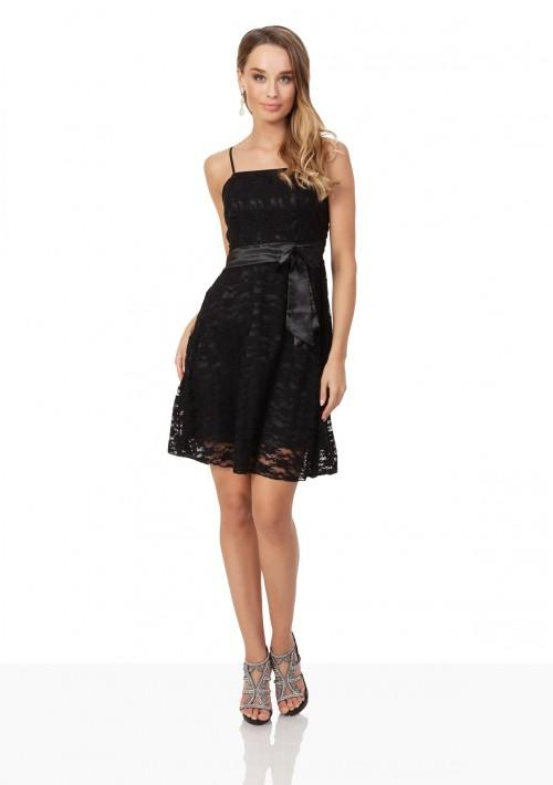 Cocktailkleid in Schwarz mit Spitze und Schleifchen - günstig bestellen bei VIP Dress