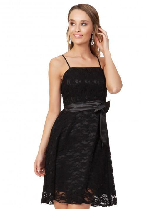 Cocktailkleid in Schwarz mit Spitze und Schleifchen - bei vipdress.de günstig shoppen