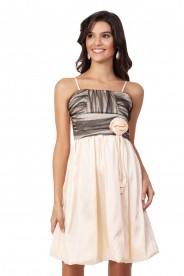 Satin-Cocktailkleid mit Ballonrock in Beige