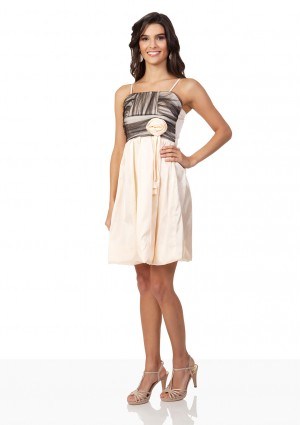 Satin-Cocktailkleid mit Ballonrock in Beige - bei VIP Dress online bestellen