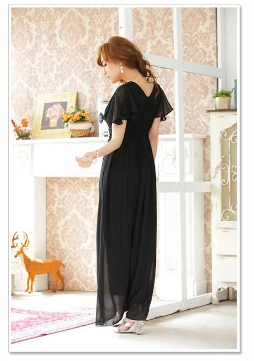 Schwarzes Chiffon-Abendkleid mit Strasszier und kurzen Ärmeln - hier günstig online bestellen