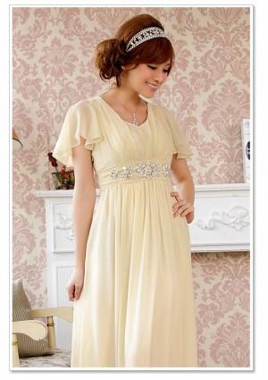 Chiffon-Abendkleid in Beige mit kurzem Arm - online bestellen bei vipdress.de