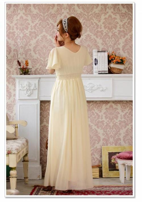 Chiffon-Abendkleid in Beige mit kurzem Arm - günstig bestellen bei VIP Dress