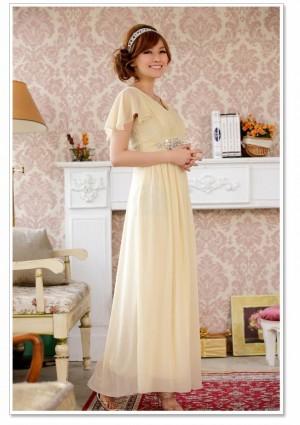 Chiffon-Abendkleid in Beige mit kurzem Arm - günstig kaufen bei vipdress.de