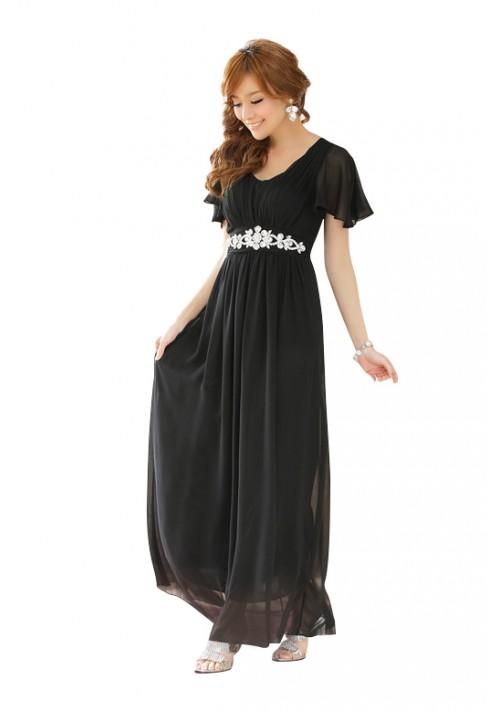 Schwarzes Chiffon-Abendkleid mit Strasszier und kurzen Ärmeln - günstig bei VIP Dress