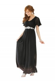 Schwarzes Chiffon-Abendkleid mit Strasszier und kurzen Ärmeln