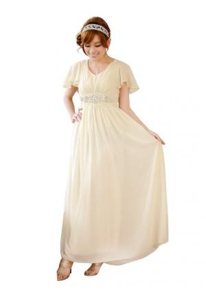 Chiffon-Abendkleid in Beige mit kurzem Arm -