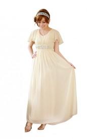 Chiffon-Abendkleid in Beige mit kurzem Arm