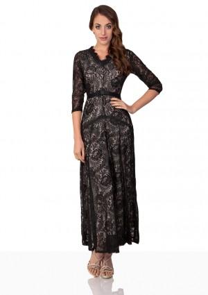 Abendkleid in Schwarz aus Spitze mit 3/4-Arm - günstig bestellen bei VIP Dress