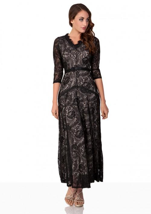Abendkleid in Schwarz aus Spitze mit 3/4-Arm - hier günstig online bestellen