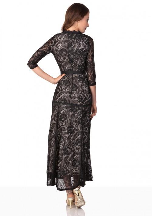 Abendkleid in Schwarz aus Spitze mit 3/4-Arm - bei VIP Dress online bestellen