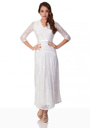 Weißes Abendkleid mit 3/4-Arm aus Spitze - bei VIP Dress online bestellen