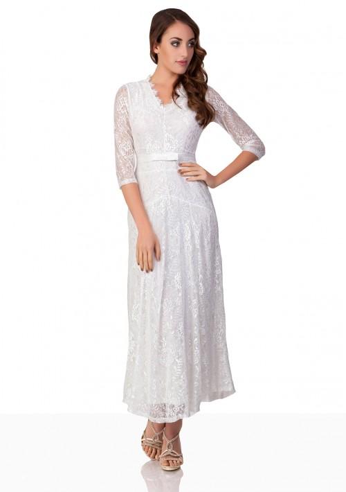 Weißes Abendkleid mit 3/4-Arm aus Spitze - bei VIP Dress günstig kaufen