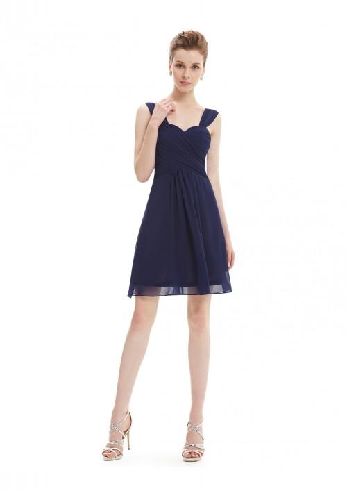 Elegantes Brautjungfernkleid in Navy Blau - bei VIP Dress günstig kaufen