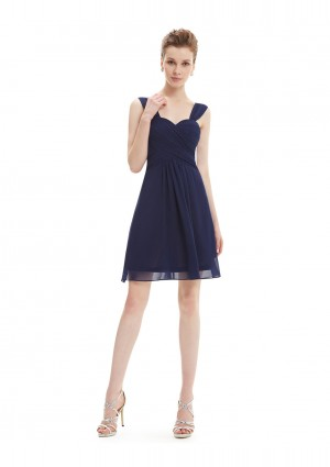 Elegantes Brautjungfernkleid in Navy Blau -