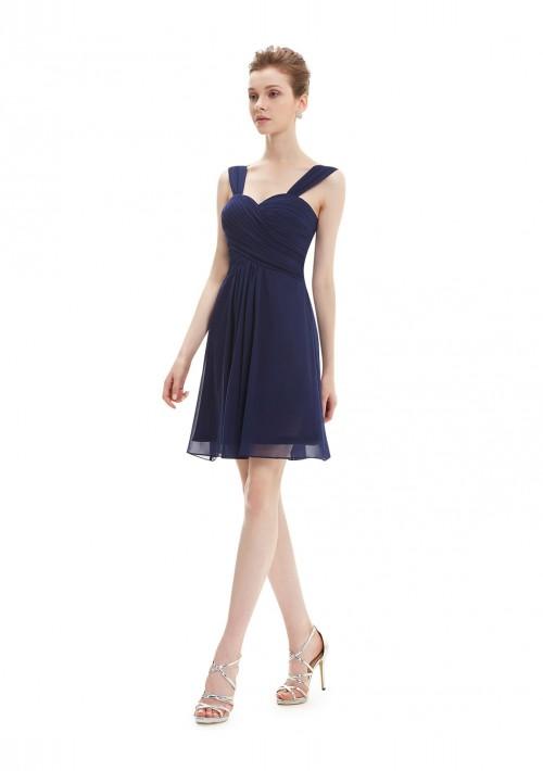 Elegantes Brautjungfernkleid in Navy Blau - bei vipdress.de günstig shoppen