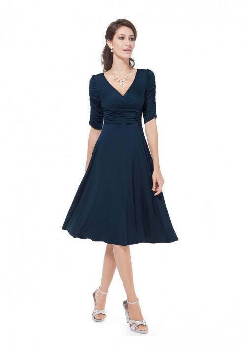 Elegantes kurzes Cocktailkleid mit Dreiviertel-Ärmeln in Navy Blau - bei VIP Dress günstig kaufen