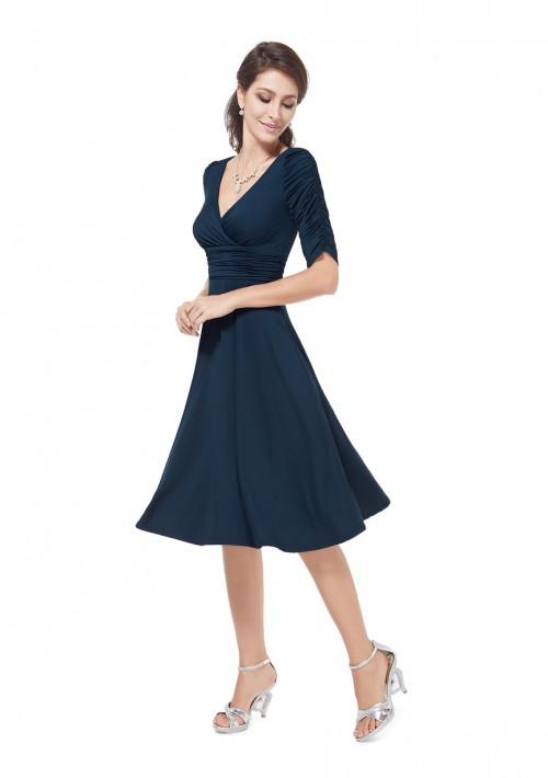 Elegantes kurzes Cocktailkleid mit Dreiviertel-Ärmeln in Navy Blau - hier günstig online bestellen
