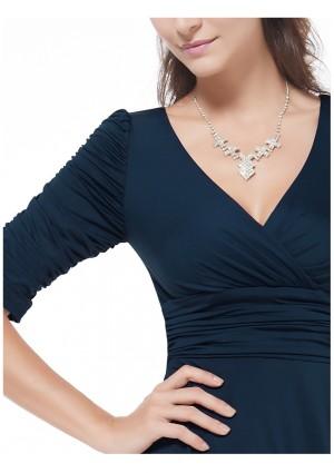 Elegantes kurzes Cocktailkleid mit Dreiviertel-Ärmeln in Navy Blau - günstig bei VIP Dress