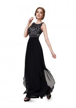 Langes elegantes Abendkleid mit stilvollen Charme in Schwarz - schnell und günstig bei VIP Dress
