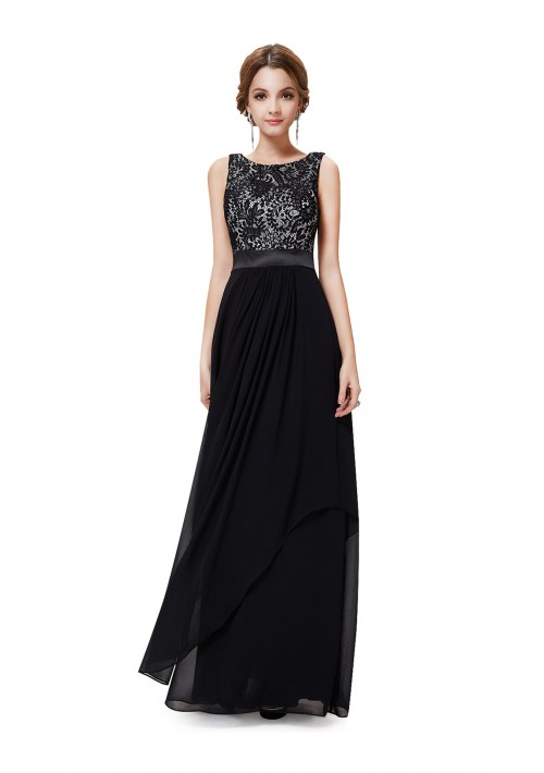 Langes elegantes Abendkleid mit stilvollen Charme in Schwarz - günstig shoppen bei vipdress.de