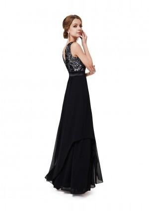 Langes elegantes Abendkleid mit stilvollen Charme in Schwarz - bei vipdress.de günstig shoppen