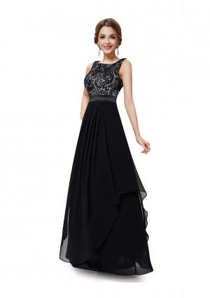 Langes elegantes Abendkleid mit stilvollen Charme in Schwarz - günstig kaufen bei vipdress.de