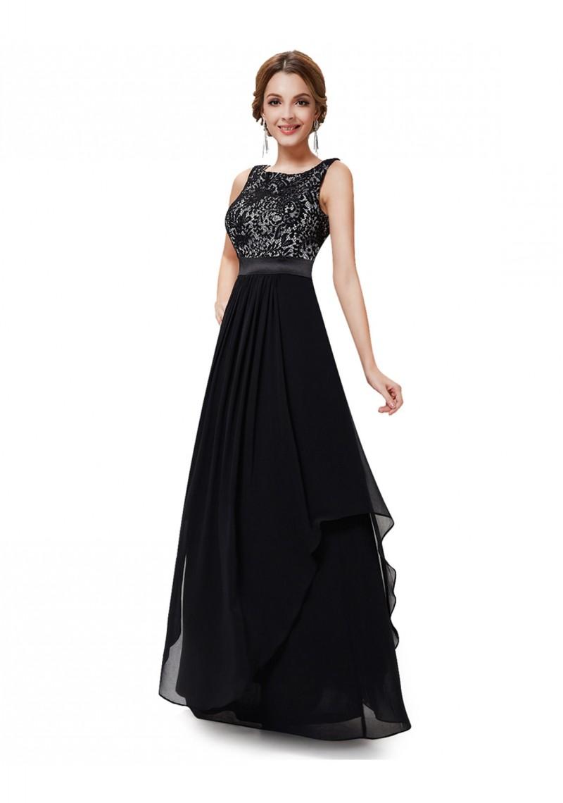 langes elegantes abendkleid mit stilvollen charme in schwarz. Black Bedroom Furniture Sets. Home Design Ideas