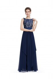 Blaues spitzen Abendkleid