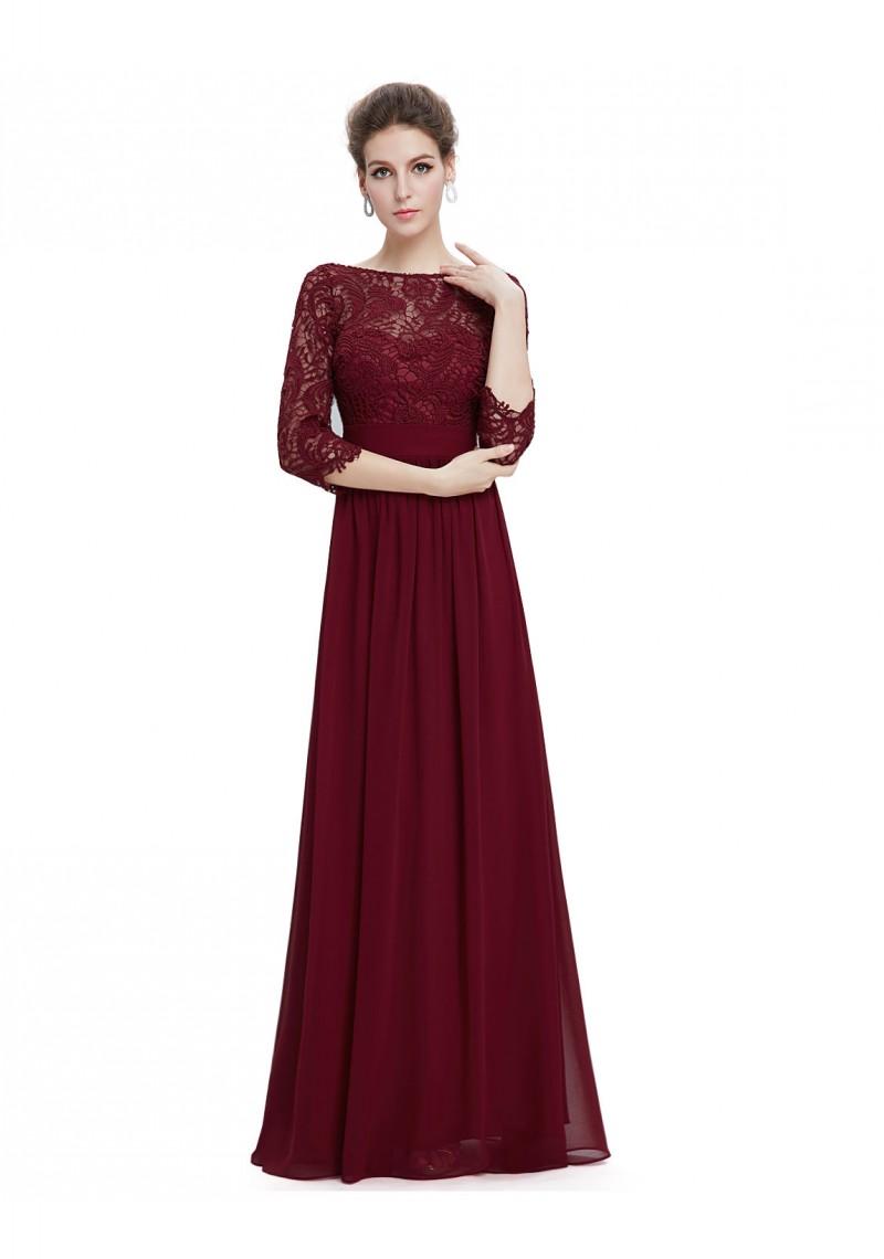kleider langes abendkleid mit eleganter spitze bordeaux rot. Black Bedroom Furniture Sets. Home Design Ideas