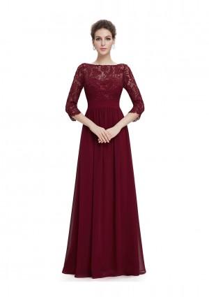 Langes Abendkleid mit eleganter Spitze Bordeaux Rot - online bestellen bei vipdress.de