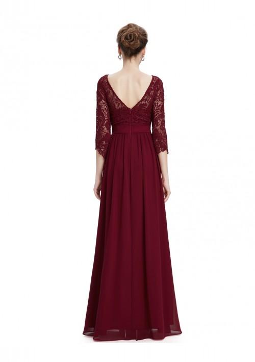 Langes Abendkleid mit eleganter Spitze Bordeaux Rot - günstig bei VIP Dress