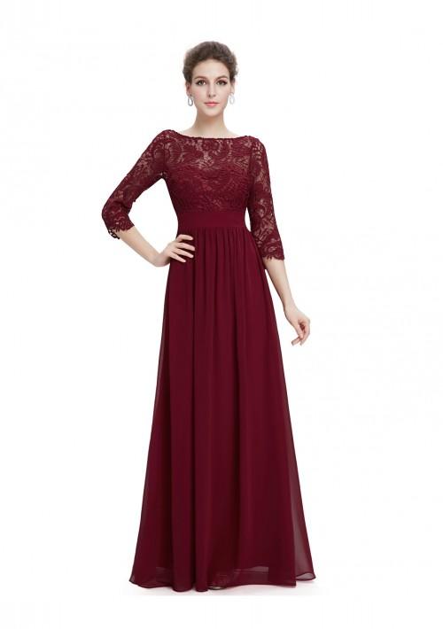 Langes Abendkleid mit eleganter Spitze Bordeaux Rot - bei VIP Dress online bestellen