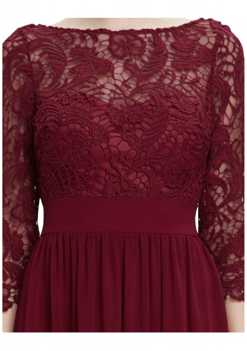Langes Abendkleid mit eleganter Spitze Bordeaux Rot - bei vipdress.de günstig shoppen