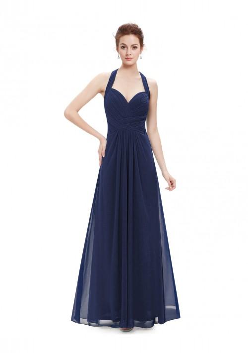 Langes Abendkleid mit Neckholder Navy Blau - günstig bei VIP Dress