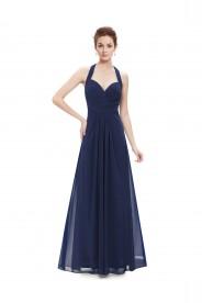 Langes Abendkleid mit Neckholder Navy Blau