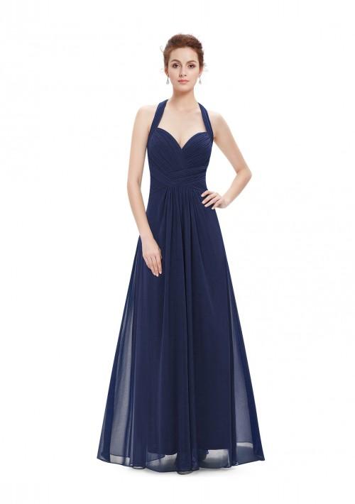 Langes Abendkleid mit Neckholder Navy Blau - bei VIP Dress günstig kaufen
