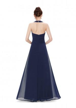 Langes Abendkleid mit Neckholder Navy Blau - günstig kaufen bei vipdress.de